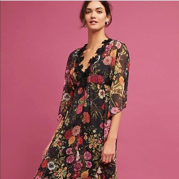 2a02eeb711ac Anthropologie Dresses & Skirts - Anthropologie Farm Rio Black Floral Dress  Small